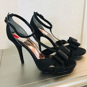Sparkly black strapped heels w/ bow
